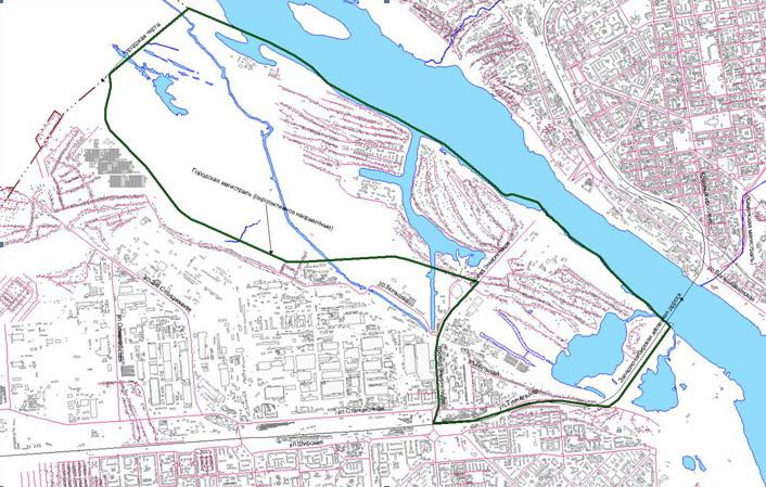 """Схема границ прибрежных территорий реки оби (жилые районы  """"Затон """" и  """"Лесоперевалка """") в ленинском районе."""